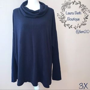 Carolyn Taylor Navy Cowl Neck Sweater, Size 3X